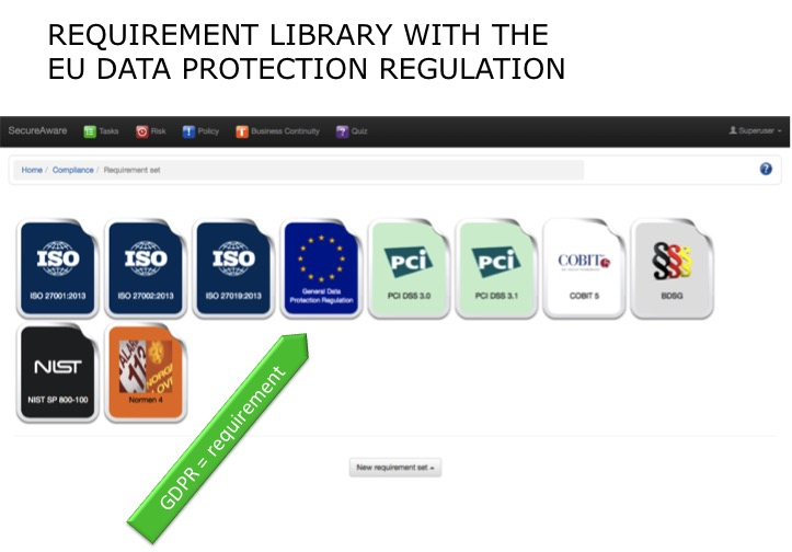 The EU Data Protection Regulation is located in the SecureAware ISMS requirement library.
