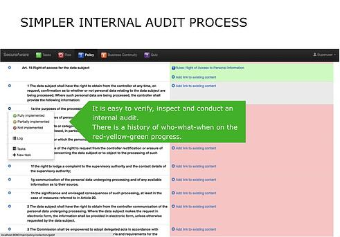 It is easy to verify, inspect and conduct an internal audit.  There is a history of who-what-when on the red-yellow-green progress.